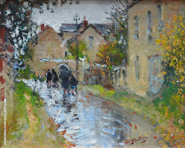 Rainy Weather in Moret sur Loing 1874 Painting By Pierre Eugene Montezin