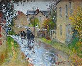 Rainy Weather in Moret sur Loing 1874 By Pierre Eugene Montezin