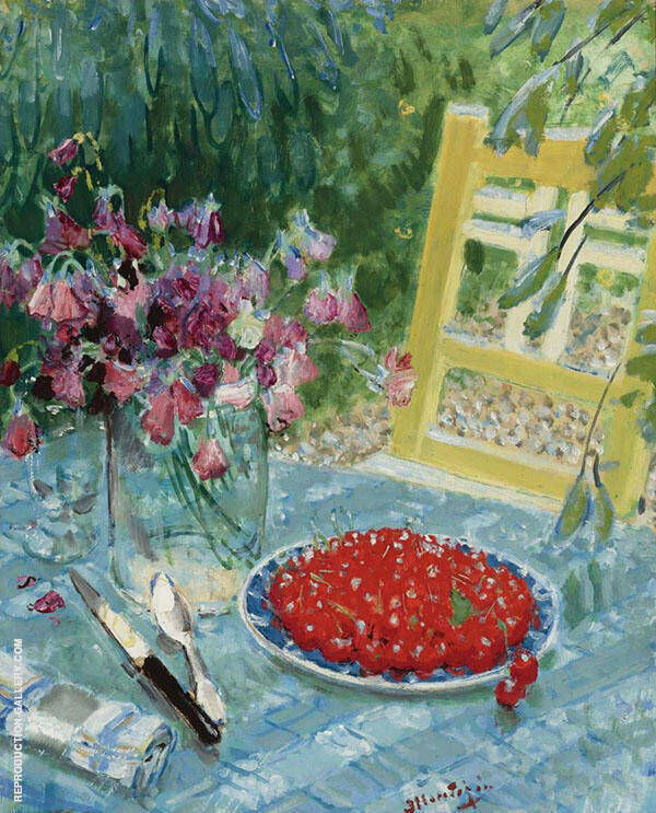 Still Life with Cherries Painting By Pierre Eugene Montezin