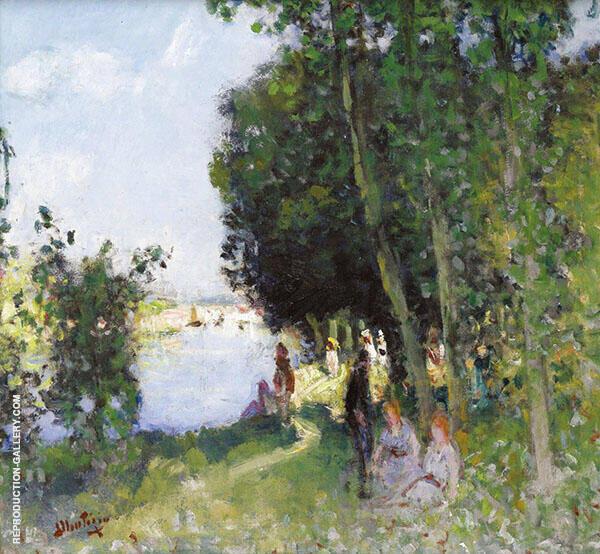 Sunday at The Seashore Painting By Pierre Eugene Montezin