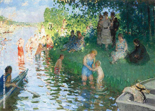 The Bathers Painting By Pierre Eugene Montezin - Reproduction Gallery