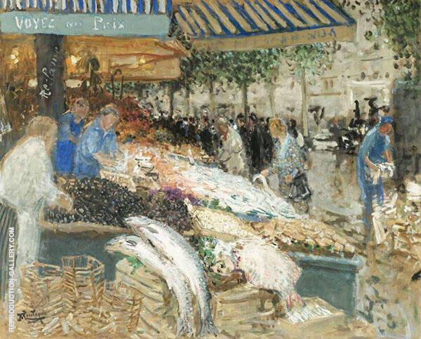 The Fishing Market Painting By Pierre Eugene Montezin