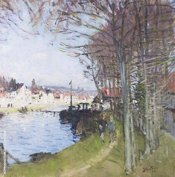 The Seine at St. Mammes 1925 By Pierre Eugene Montezin