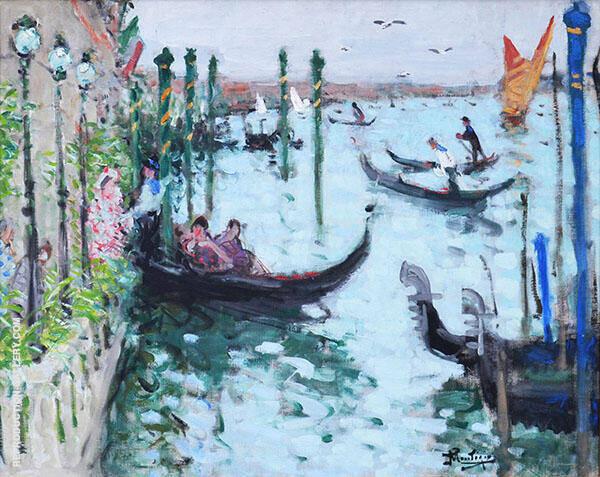 Venise L'embarcadere de l'hotel Painting By Pierre Eugene Montezin