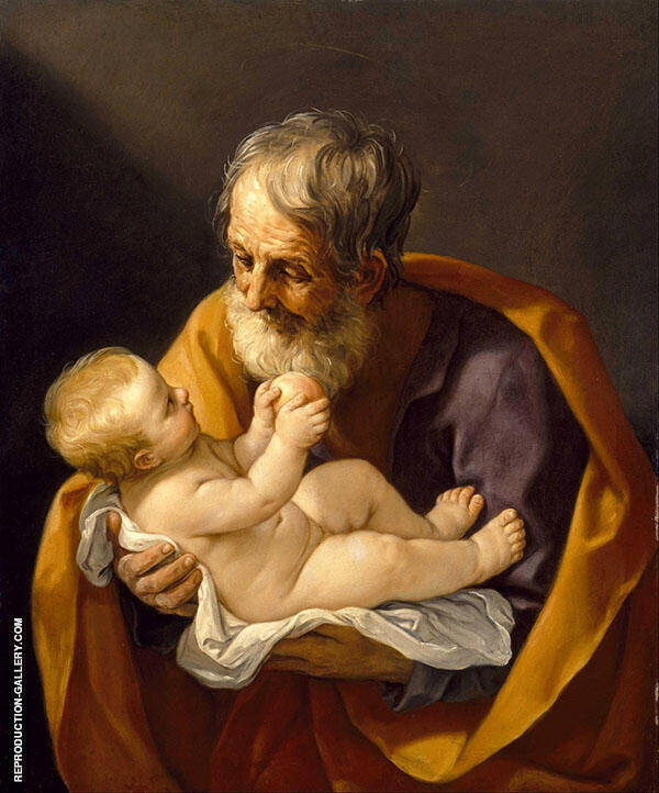 Saint Joseph and The Christ Child 1640 Painting By Guido Reni