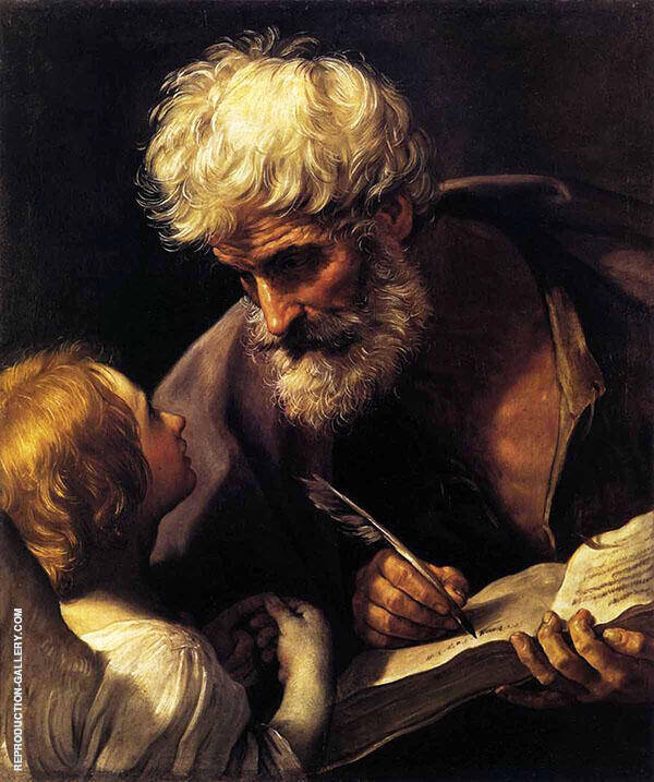 St Matthew and The Angel 1635 Painting By Guido Reni
