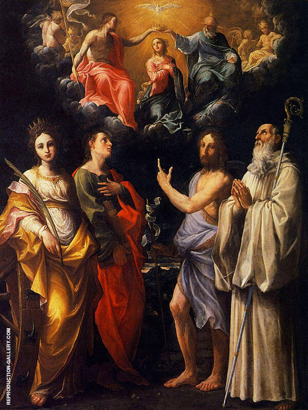 The Coronation of The Virgin with Four Saints Painting By Guido Reni