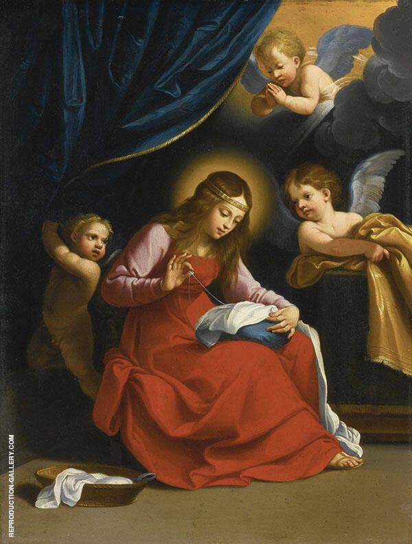 The Virgin Sewing Painting By Guido Reni - Reproduction Gallery