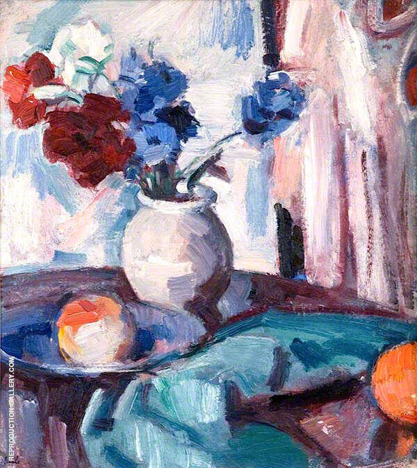 Anemones in A Brown Jar By Samuel John Peploe