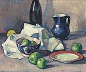 Black Bottle Napkin and Green Apples 1916 By Samuel John Peploe
