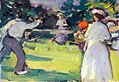 Game of Tennis Luxembourg Gardens c1906 By Samuel John Peploe