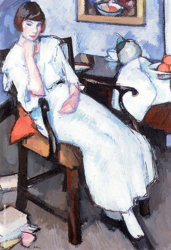 Girl in White c1920 Painting By Samuel John Peploe - Reproduction Gallery