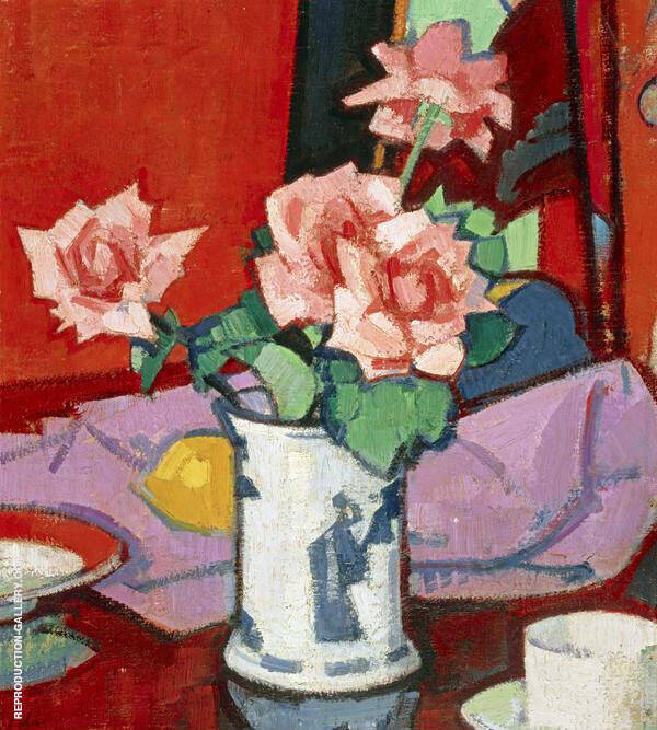 Pink Roses Chinese Vase 1916 by Samuel John Peploe | Oil Painting Reproduction Replica On Canvas - Reproduction Gallery