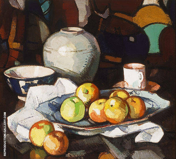 Still Life Apples and Jar c1912 by Samuel John Peploe   Oil Painting Reproduction Replica On Canvas - Reproduction Gallery