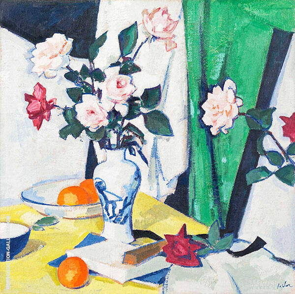 Still Life of Pink & Red Roses in a Chinese Vase By Samuel John Peploe