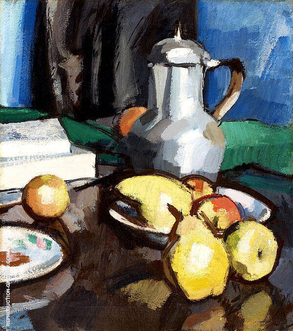 Still Life with Pewter Coffee Pot by Samuel John Peploe   Oil Painting Reproduction Replica On Canvas - Reproduction Gallery