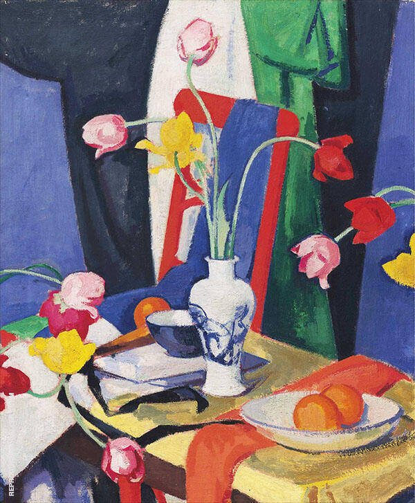 Still Life with Tulips by Samuel John Peploe | Oil Painting Reproduction Replica On Canvas - Reproduction Gallery