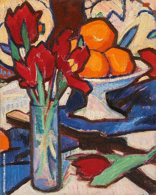 Still Life with Tulips and Oranges Painting By Samuel John Peploe
