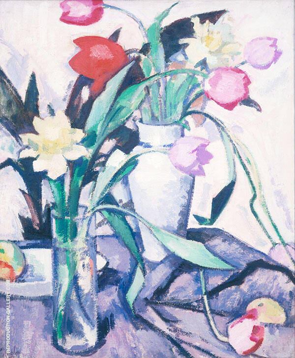 Tulips 1923 by Samuel John Peploe | Oil Painting Reproduction Replica On Canvas - Reproduction Gallery