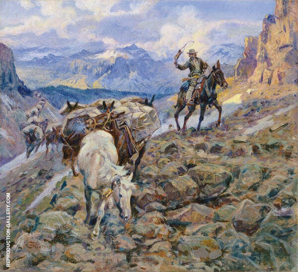 When Mules Wear Diamonds 1921 Painting By Charles M Russell
