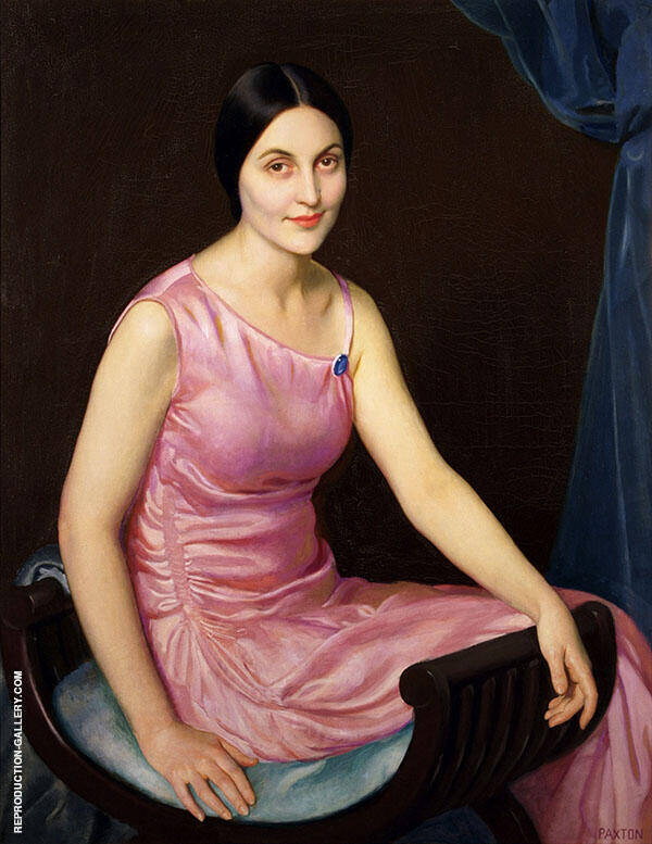 Elsa in The Pink Dress Painting By William M Paxton - Reproduction Gallery