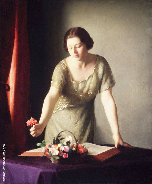 Girl Arranging Flowers By William M Paxton
