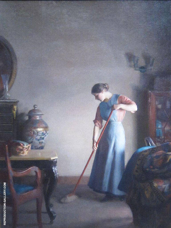 Girl Sweeping By William M Paxton