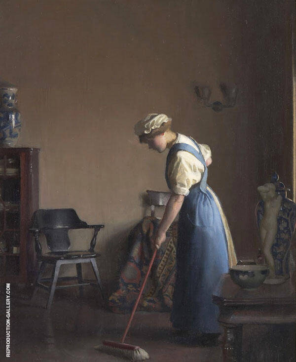 Girl Sweeping 1912 By William M Paxton