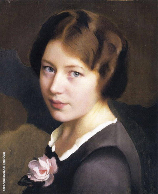 Girl With A Pink Rose By William M Paxton