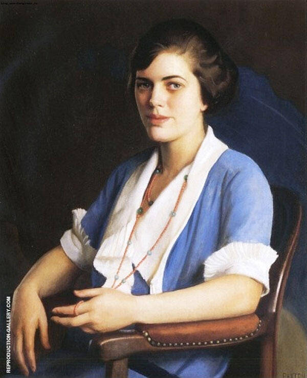Portrait of A Young Woman In Blue By William M Paxton