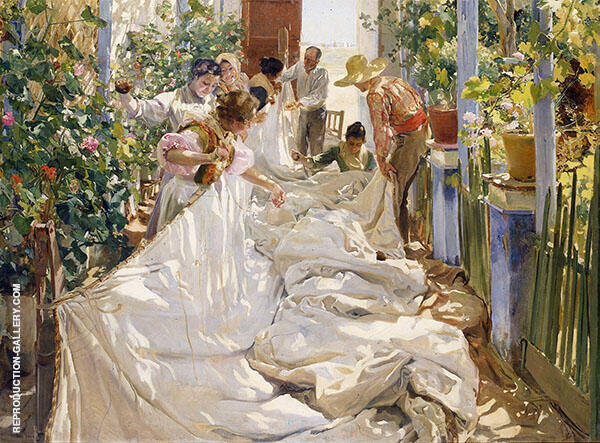 Sewing the Sail 1896 Painting By Joaquin Sorolla - Reproduction Gallery