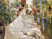 Sewing the Sail 1896 By Joaquin Sorolla