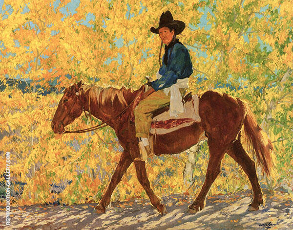 A Ride in Autumn Painting By Walter Ufer - Reproduction Gallery