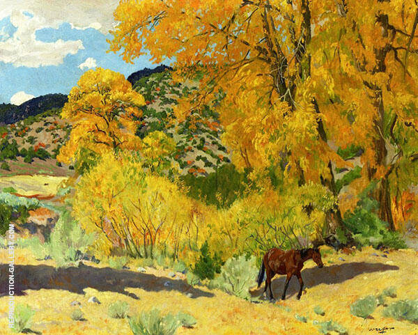Autumn in Taos Canyon Painting By Walter Ufer - Reproduction Gallery