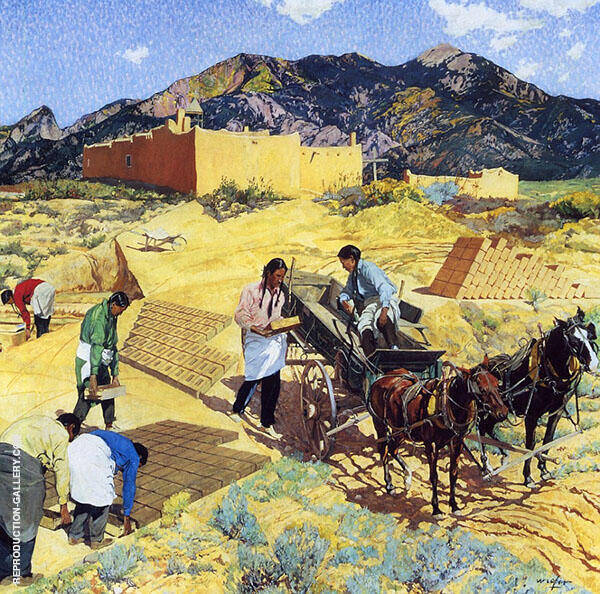 Builders in The Desert Painting By Walter Ufer - Reproduction Gallery