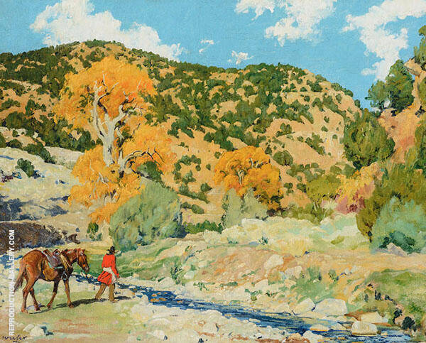 Crossing The Creek Painting By Walter Ufer - Reproduction Gallery
