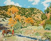 Crossing The Creek By Walter Ufer