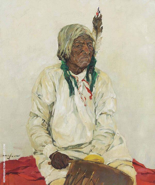 El Cacique del Pueblo 1916 Painting By Walter Ufer - Reproduction Gallery