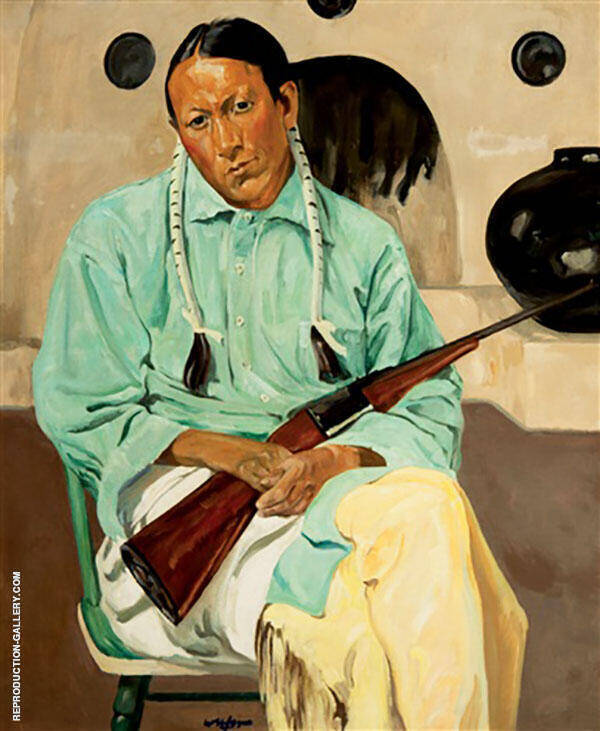 Frank Archuleta Taos Indian with Rifle Painting By Walter Ufer