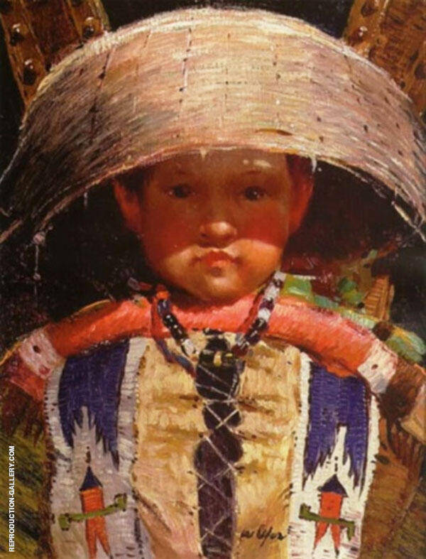 Indian Boy in Cradle Painting By Walter Ufer - Reproduction Gallery