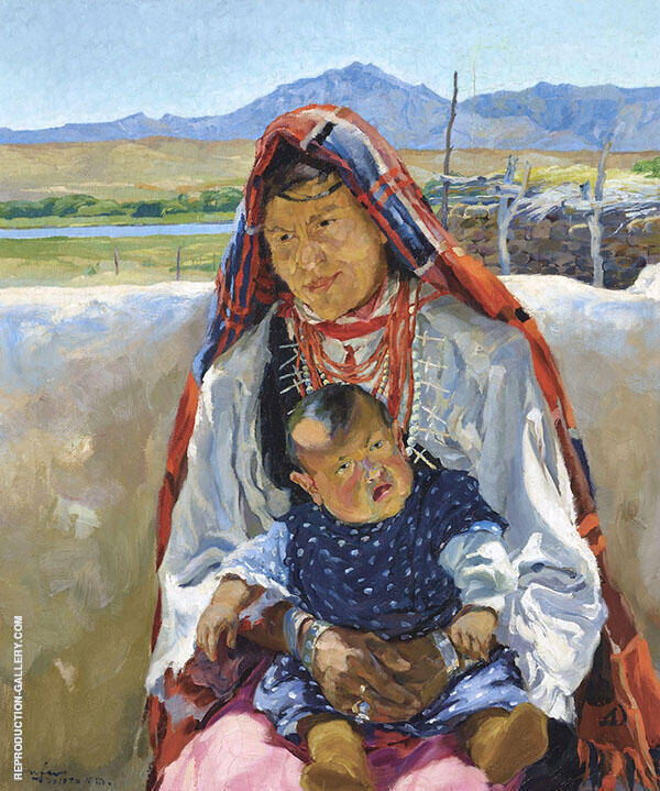 Indian Mother 1915 Painting By Walter Ufer - Reproduction Gallery