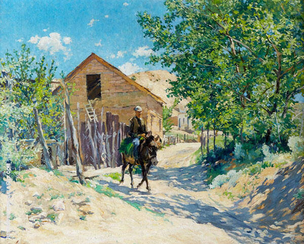 Lone Rider in Old Santa Fe Painting By Walter Ufer - Reproduction Gallery