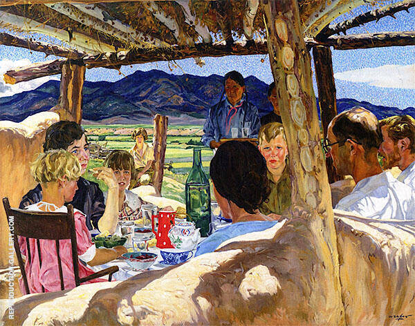 Luncheon at Lone Locust 1923 Painting By Walter Ufer