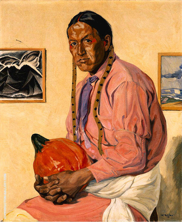 Man with a Pumpkin By Walter Ufer