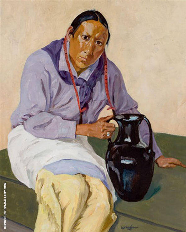 Man with Olla Painting By Walter Ufer - Reproduction Gallery