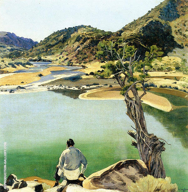 Mirrored Lake Desert Painting By Walter Ufer - Reproduction Gallery