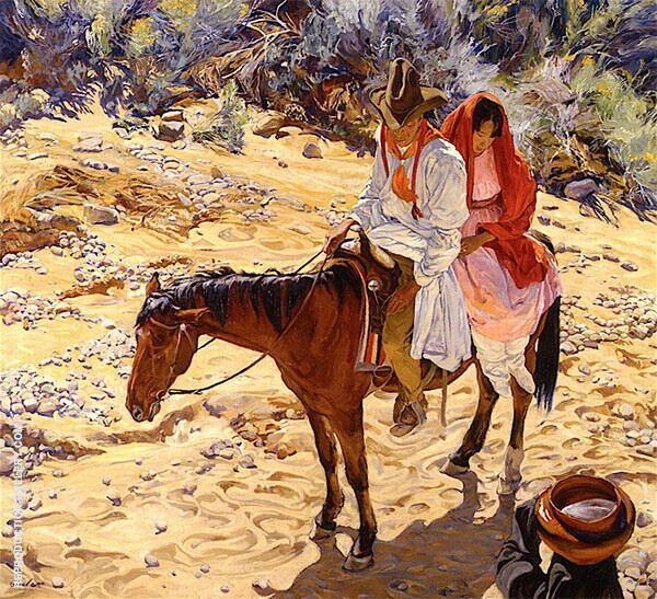 Near The Waterhole Painting By Walter Ufer - Reproduction Gallery