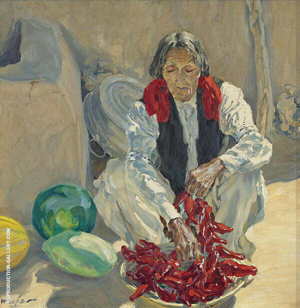 Stringing Chili Peppers Painting By Walter Ufer - Reproduction Gallery