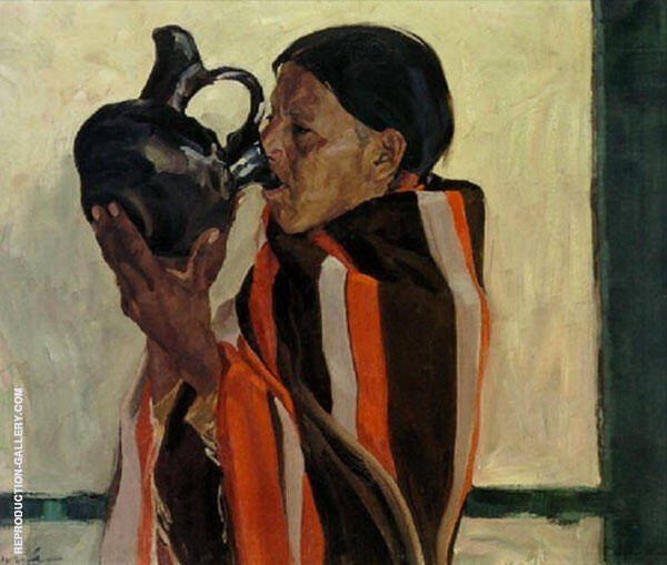 Taos Indian Drinking Painting By Walter Ufer - Reproduction Gallery