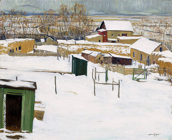 Taos in The Snow Painting By Walter Ufer - Reproduction Gallery